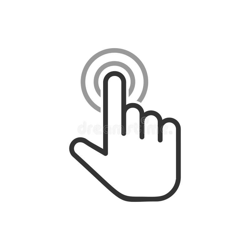 Klik muispictogram in vlakke stijl Wijzer vectorillustratie op wit ge?soleerde achtergrond Van de bedrijfs handdrukknop concept stock illustratie