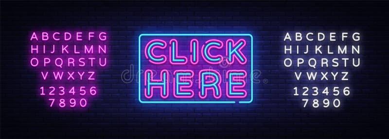 Klik Nere-de Vector van de Neontekst Klik Nere-neonteken, ontwerpsjabloon, modern tendensontwerp, het uithangbord van het nachtne vector illustratie