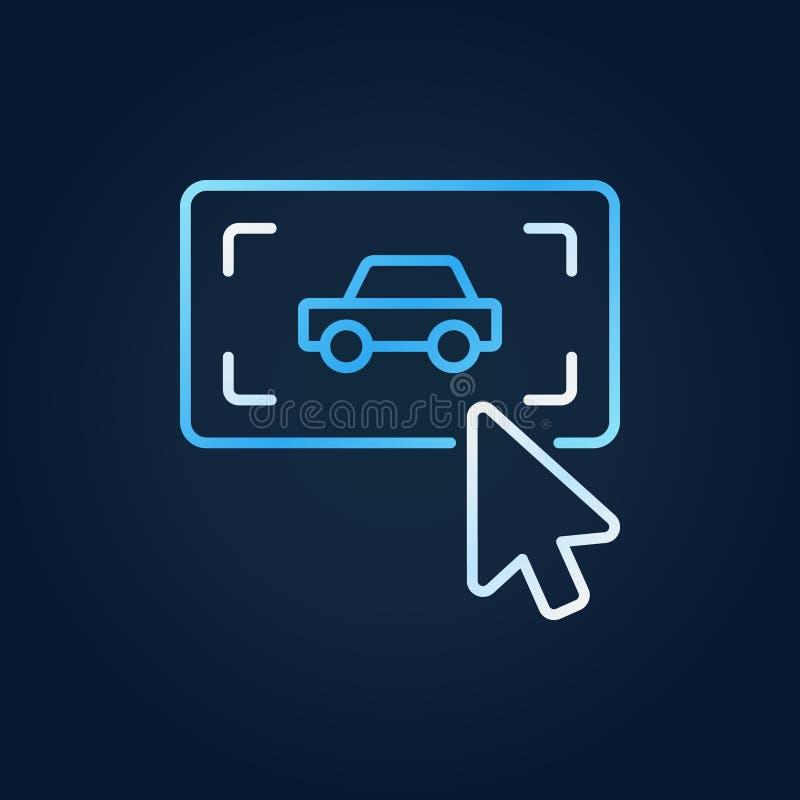 Klik op knoop met een pictogram van het auto vector creatief overzicht stock illustratie
