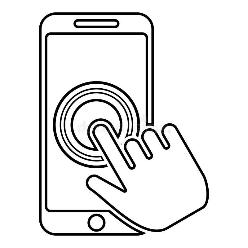 Klik op touch screensmartphone Moderne smartsphone met hand die op het schermvinger op mobiele telefoonactie in apps klikken klik vector illustratie