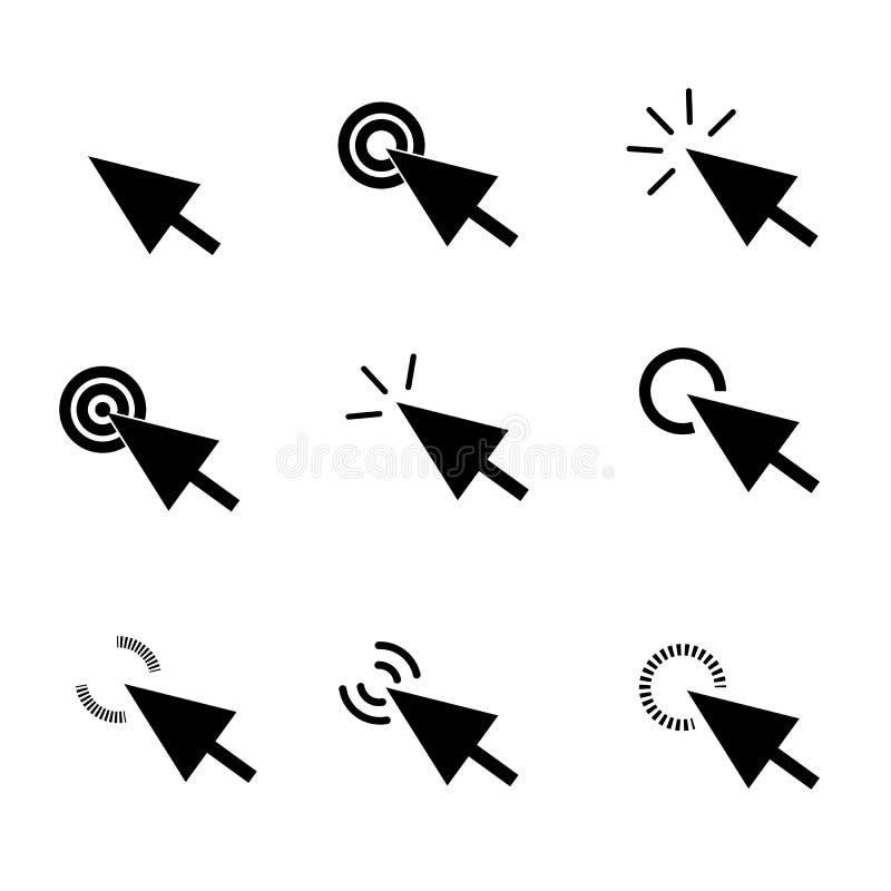 Klik pictogram in in vlakke stijl op witte achtergrond de pijl klikt royalty-vrije illustratie