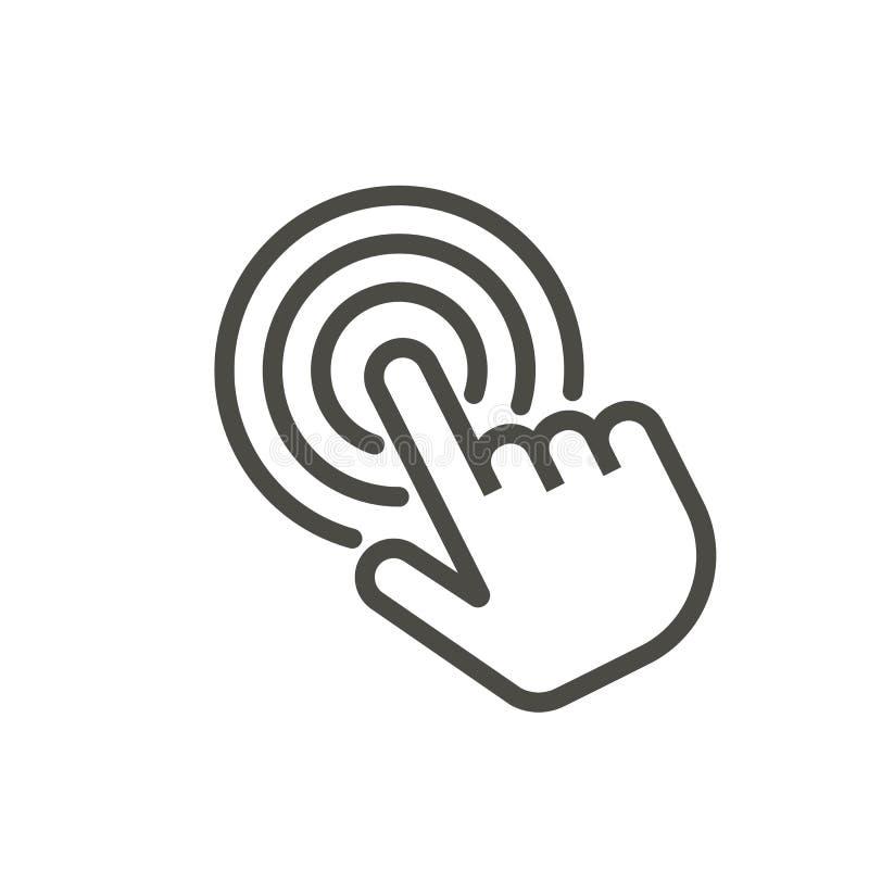 Klik pictogramvector De vingersymbool van de lijnaanraking stock illustratie