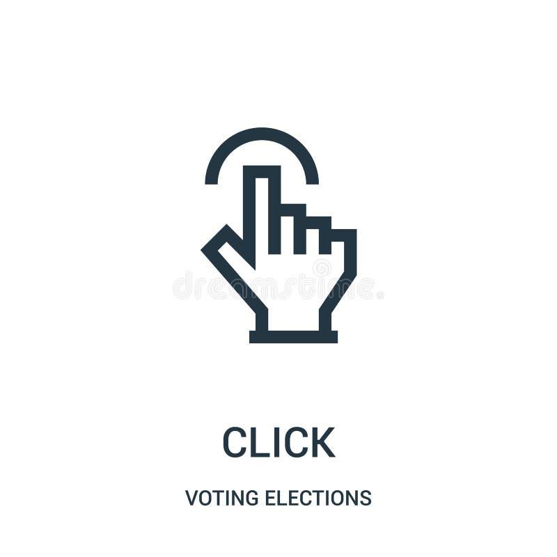 klik pictogramvector van het stemmen van verkiezingen over inzameling De dunne lijn klikt de vectorillustratie van het overzichts vector illustratie