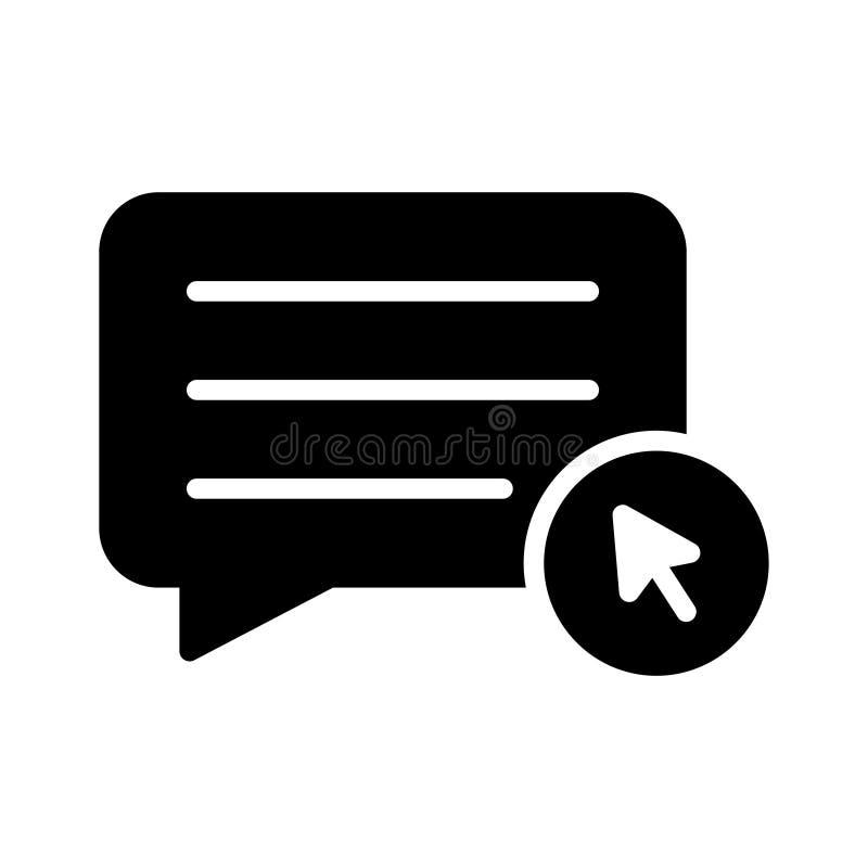 Klik praatje glyph vlak vectorpictogram royalty-vrije illustratie