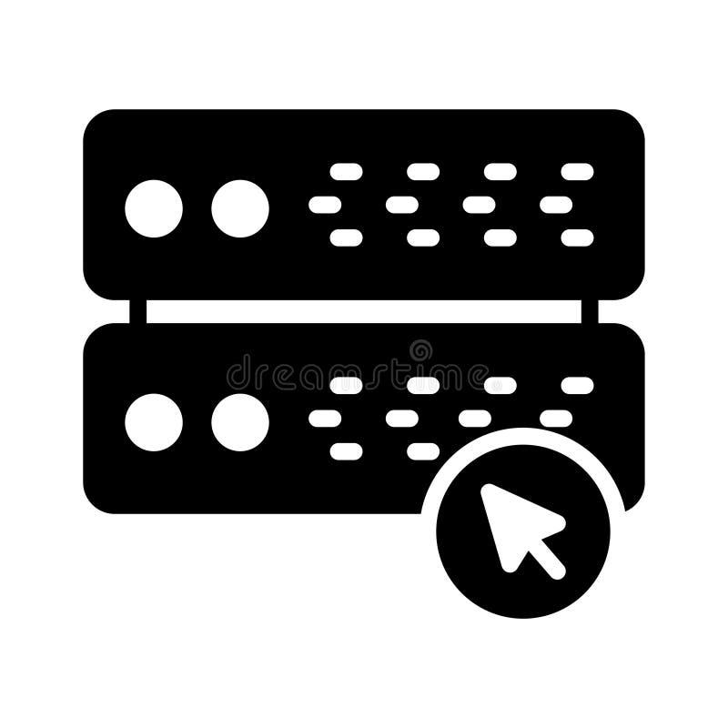 Klik server glyph vlak vectorpictogram vector illustratie