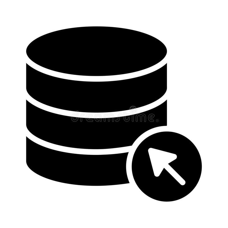 Klik server glyph vlak vectorpictogram royalty-vrije illustratie