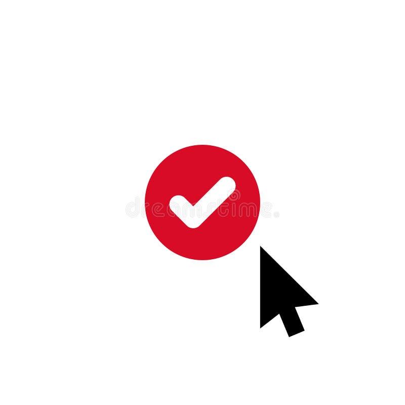 Klik vectorpictogram, curseursymbool met controleteken Het pictogram van de curseurpijl en goedgekeurd, bevestigt, gedaan, tik, v vector illustratie