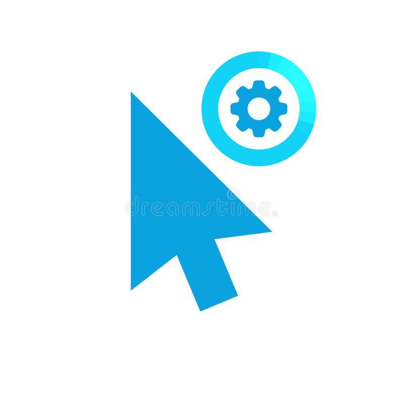 Klik vectorpictogram, curseursymbool met montagesteken Het pictogram van de curseurpijl en past, opstelling, leidt, verwerkt symb royalty-vrije illustratie