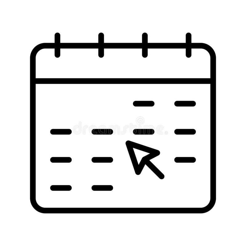 Klik vectorpictogram van de kalender het dunne lijn vector illustratie