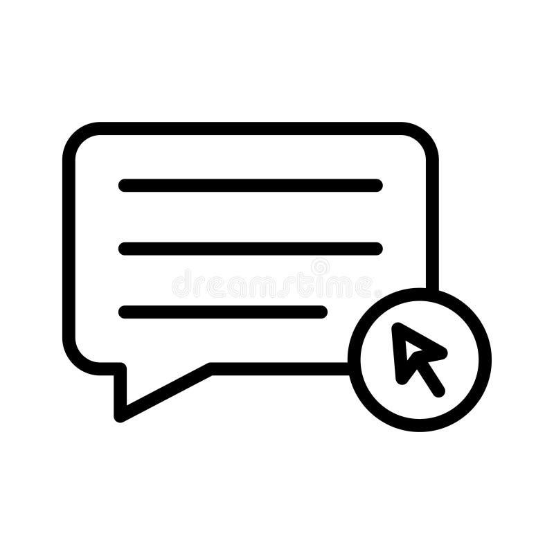Klik vectorpictogram van de praatje het dunne lijn stock illustratie