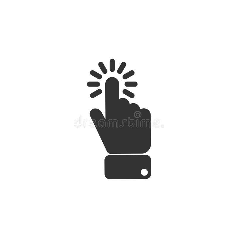 Klik vingerpictogram in eenvoudig ontwerp Vector illustratie stock illustratie