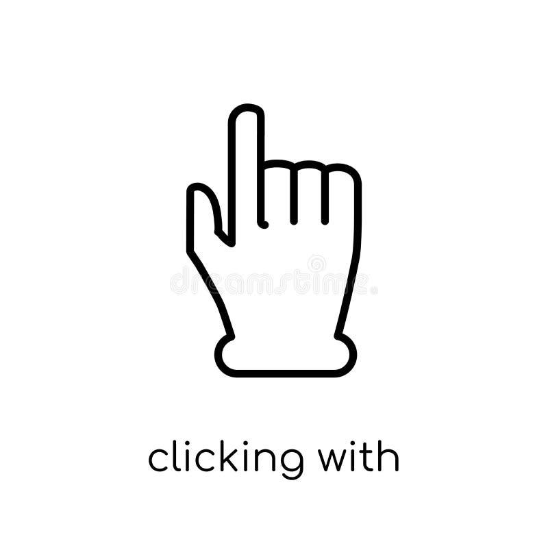 Klikać z lewej ręki ikoną Modny nowożytny płaski liniowy vect ilustracja wektor