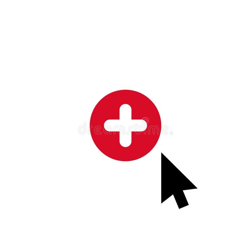 Klika wektorową ikonę, kursoru symbol z dodaje znaka Kursor strzałkowata ikona, nowy i, plus, pozytywny symbol ilustracji