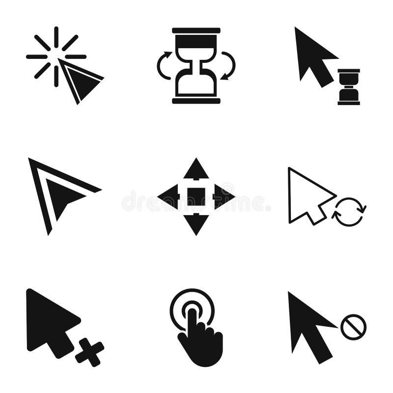 Klikkende geplaatste pictogrammen, eenvoudige stijl stock illustratie