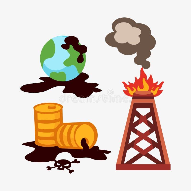 Klimaölverschmutzung der ökologischen Probleme der Wassererdluft-Abholzungszerstörung der Tiere mahlt Fabriken lizenzfreie abbildung