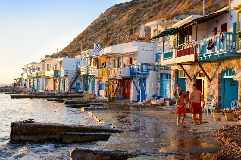 Klima, Melos, aldeia piscatória foto de stock