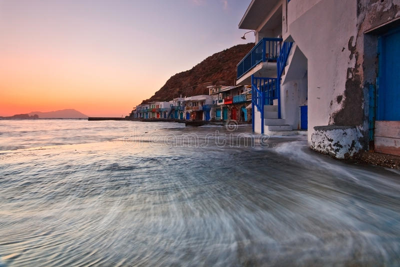 Klima, Milos остров, Греция. стоковые фото