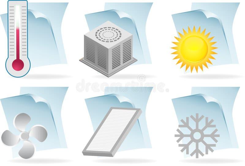 Klimaanlagen-Dokumenten-Ikonen stock abbildung
