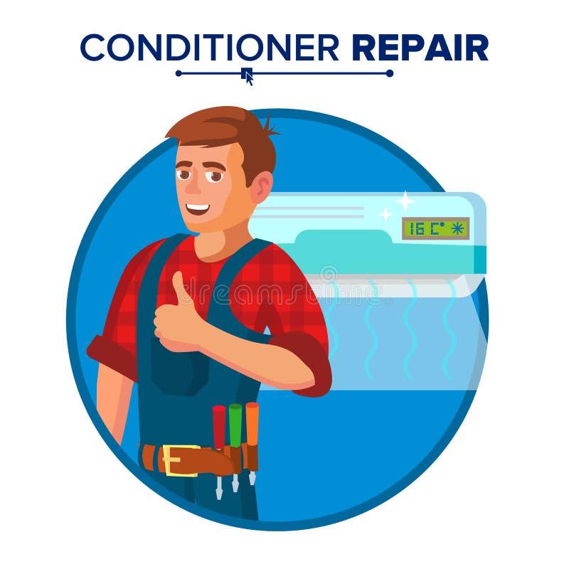 Klimaanlagen-Reparatur-Service-Vektor Techniker Repairing Classic Conditioner auf der Wand Auf weißer Karikatur lizenzfreie abbildung