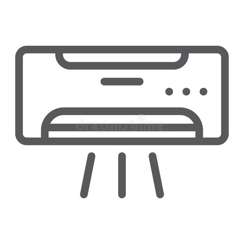 Klimaanlagenlinie Ikone, Klima und Abkühlen, Gerätezeichen, Vektorgrafik, ein lineares Muster auf einem weißen Hintergrund stock abbildung