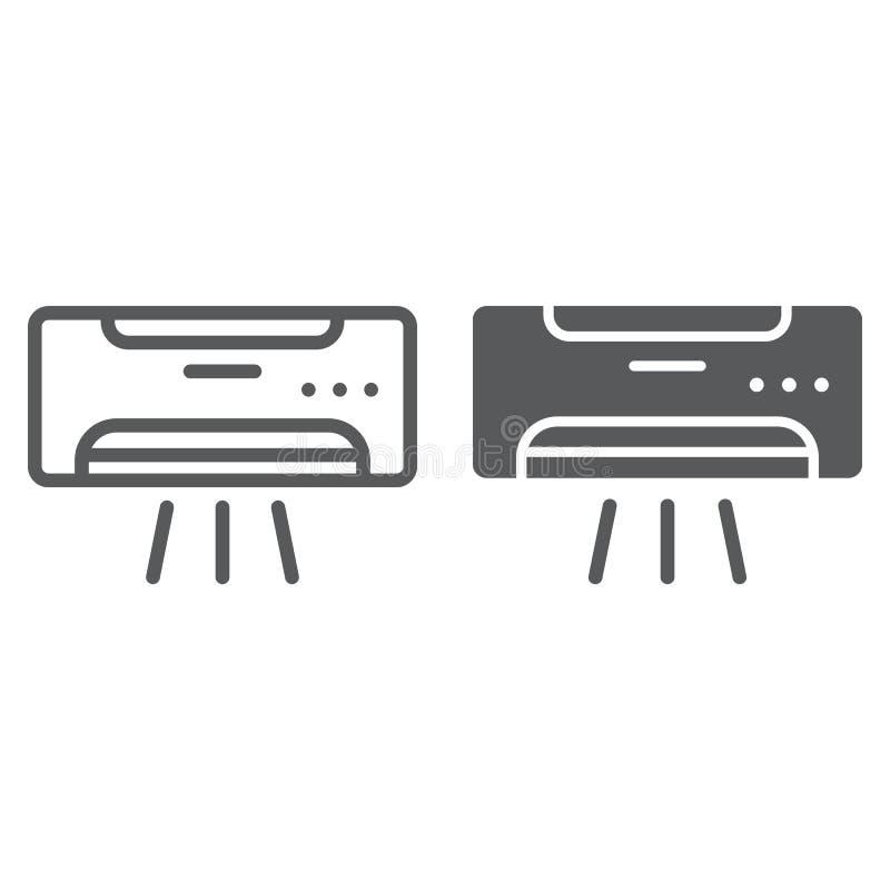 Klimaanlagenlinie und Glyphikone, Klima und Abkühlen, Gerätezeichen, Vektorgrafik, ein lineares Muster lizenzfreie abbildung