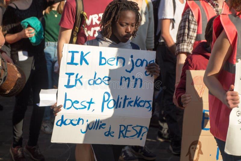 Klimamarsch GENT, jugendlich Protest für das envirement lizenzfreie stockfotografie