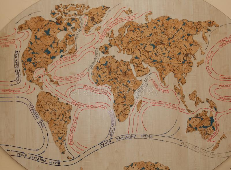 Klimat i strumienie w Europa, Azja, Afryka i Australia starej mapie, mapa światowi prądy na drzewie zdjęcia royalty free