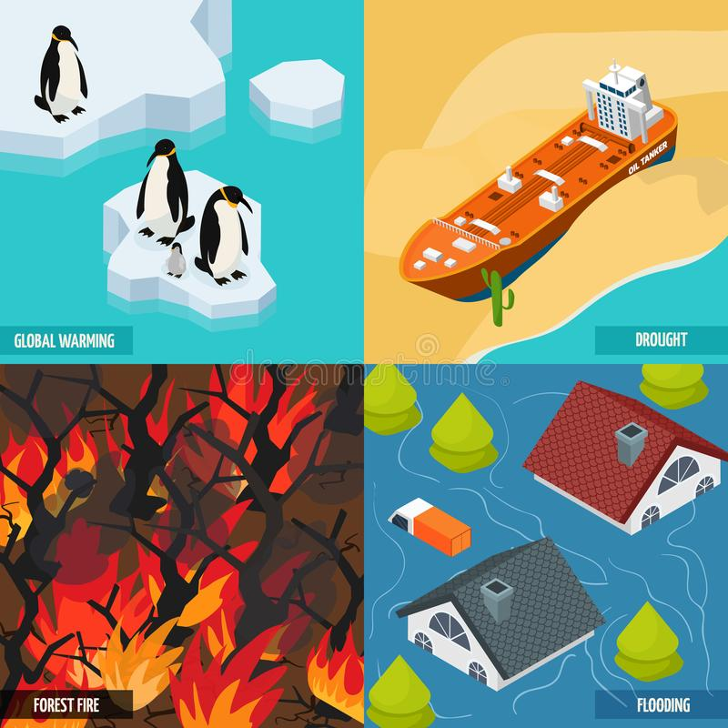 Klimat som värme isometriskt designbegrepp vektor illustrationer