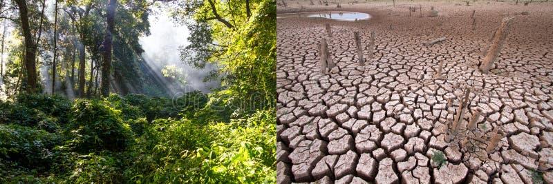 Klimatförändring jämför bild royaltyfria foton