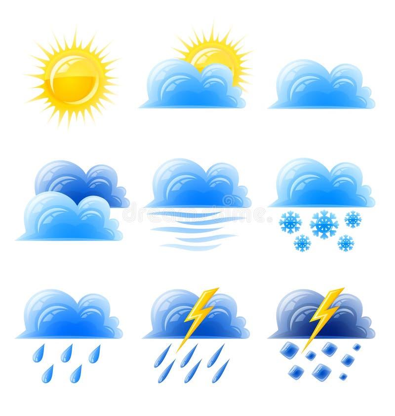 Klimatische Ikone des gesetzten Wetters der Wolkengoldsonne stock abbildung