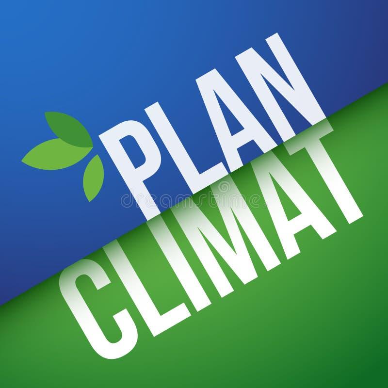 Klimatplan i franskt: Plan Climat vektor illustrationer