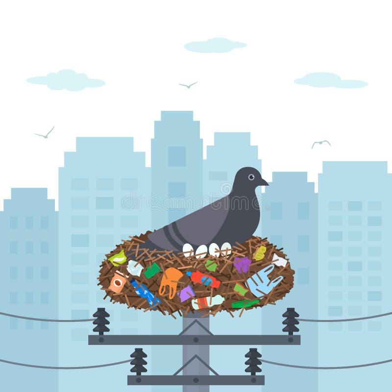 Klimaunfall-Kunststoffabfall in der Stadt Muttertaube brütet Eier in einem Nest voll des Abfalls und des Haushalts aus stock abbildung