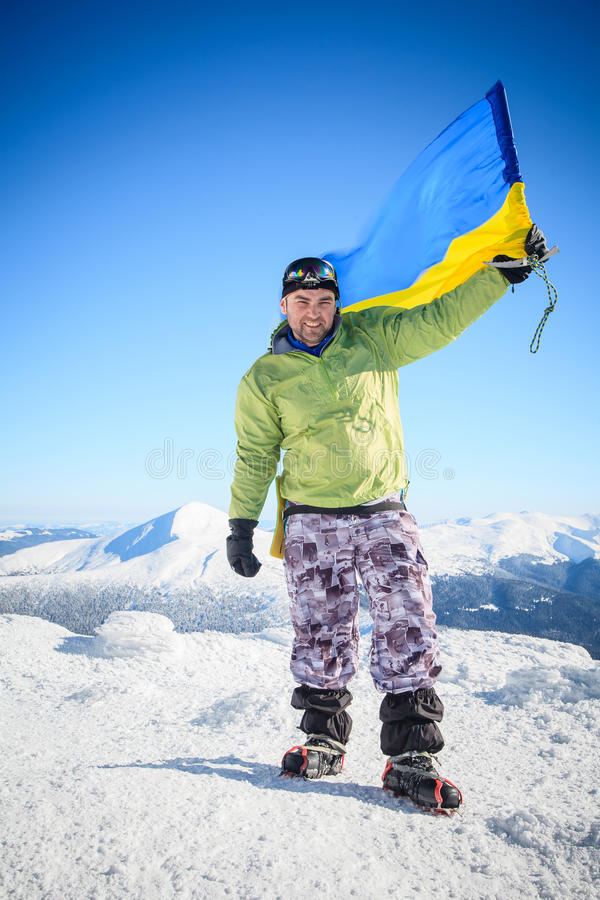 Klimmer, bovenkant, vlag, de Oekraïne stock foto