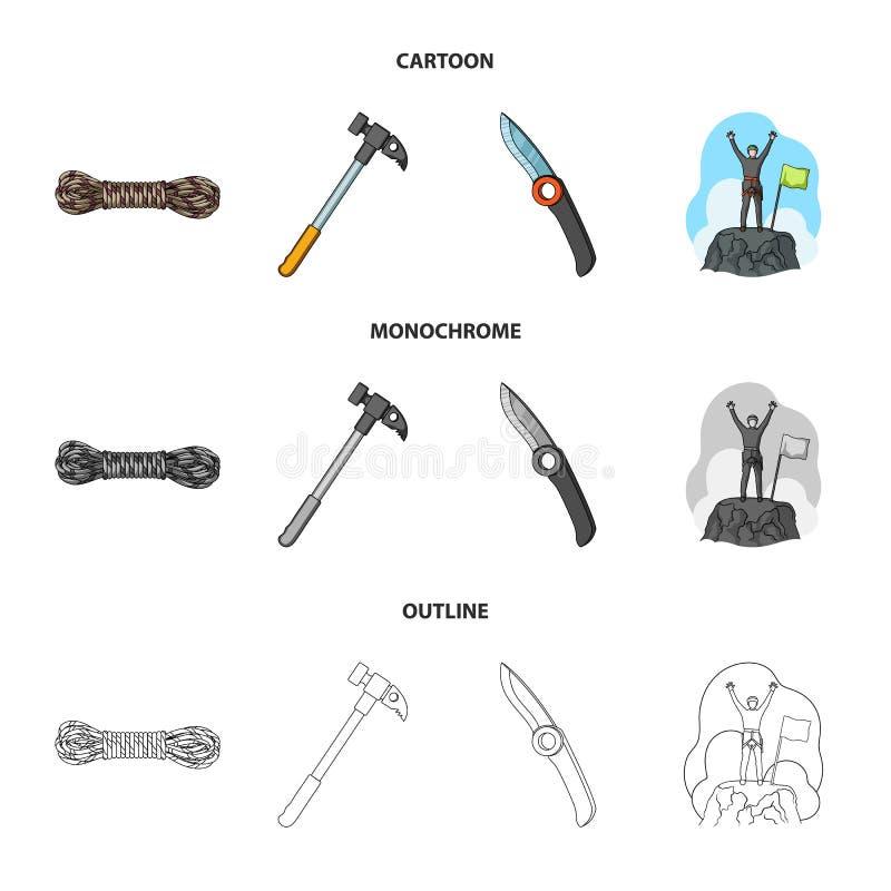 Klimmer op veroverde bovenkant, rol van kabel, mes, hamer Pictogrammen van de alpinisme de vastgestelde inzameling in beeldverhaa stock illustratie