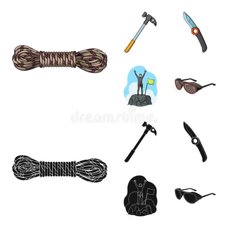 Klimmer op veroverde bovenkant, rol van kabel, mes, hamer Pictogrammen van de alpinisme de vastgestelde inzameling in beeldverhaa royalty-vrije illustratie