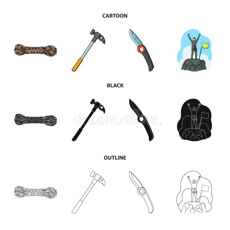 Klimmer op veroverde bovenkant, rol van kabel, mes, hamer Pictogrammen van de alpinisme de vastgestelde inzameling in beeldverhaa vector illustratie