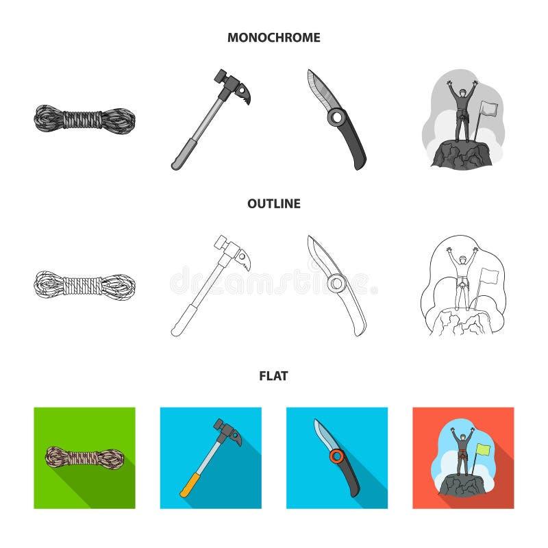 Klimmer op veroverde bovenkant, rol van kabel, mes, hamer Pictogrammen van de alpinisme de vastgestelde inzameling in vlakte, zwa vector illustratie