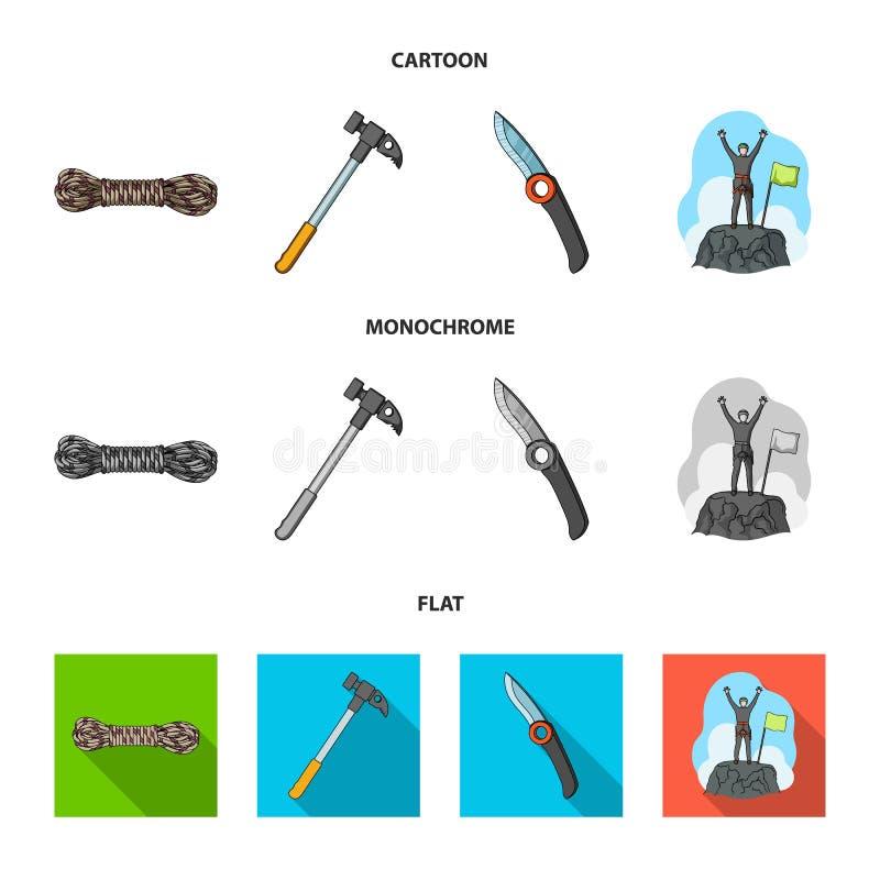 Klimmer op veroverde bovenkant, rol van kabel, mes, hamer Pictogrammen van de alpinisme de vastgestelde inzameling in zwart-wit b stock illustratie