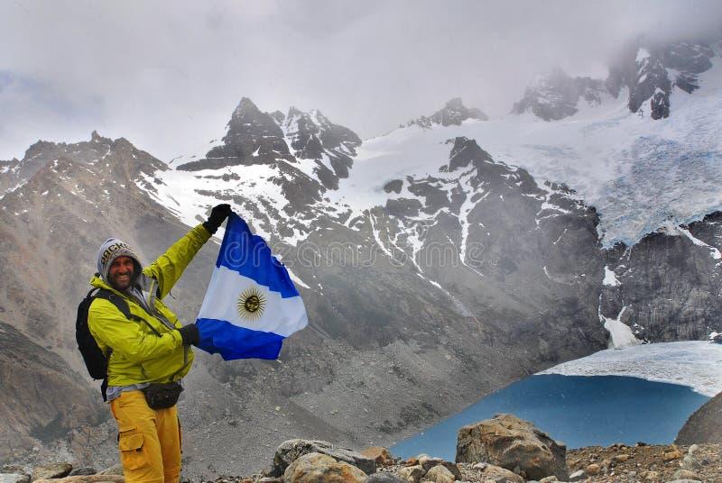 Klimmergolf een vlag van Argentinië stock foto