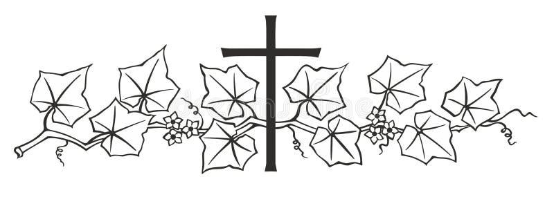 Klimop en kruis royalty-vrije illustratie