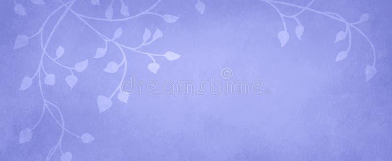 Klimop en wijnstokken op een pastelkleur purpere achtergrond, bladeren die op de grens in een bloemenaardpatroon beklimmen dat el royalty-vrije illustratie