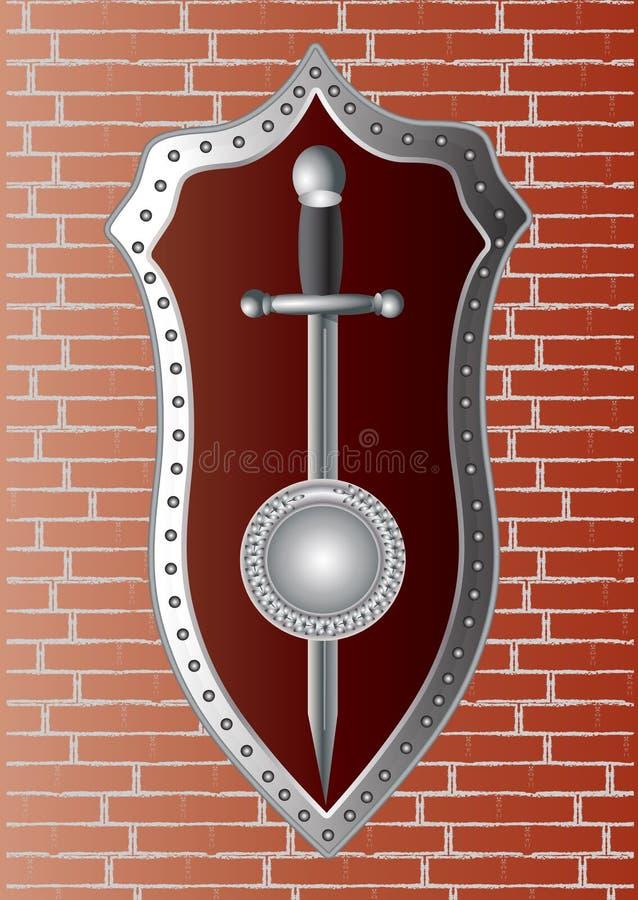 Klinge mit einem Schild auf der Wand lizenzfreie abbildung