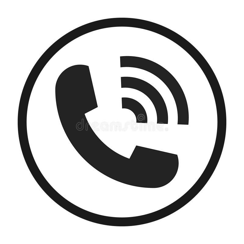 Klingelntelefon der flachen Ikone lokalisiert auf wei?em Hintergrund Auch im corel abgehobenen Betrag stock abbildung
