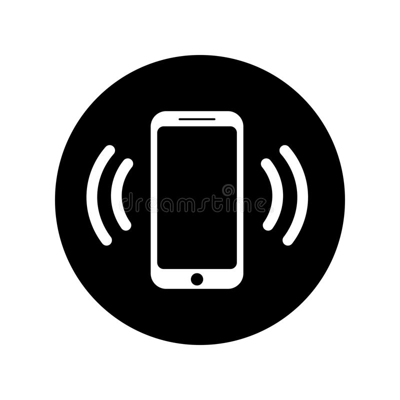 Klingelntelefonikone im Kreis Bewegliche Anrufikone lizenzfreie abbildung