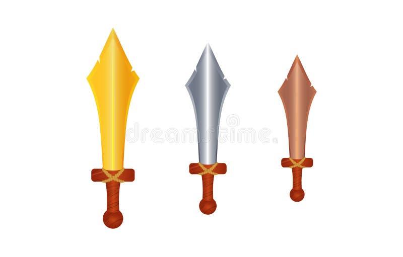 Klingen, Dolche machten von den verschiedenen Materialien: Metall, Gold, Silber und Bronze Messer haben h?lzernen Griff, Griff Pr lizenzfreie abbildung