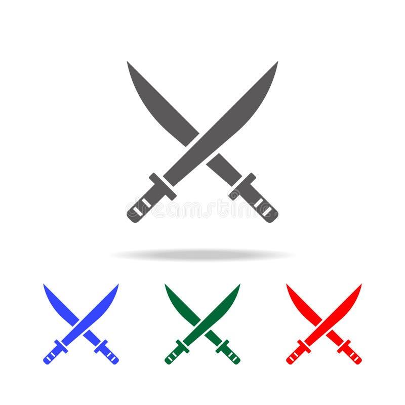 Klingen-Ikone Elemente in den multi farbigen Ikonen für bewegliche Konzept und Netz apps Ikonen für Websitedesign und Entwicklung lizenzfreie abbildung