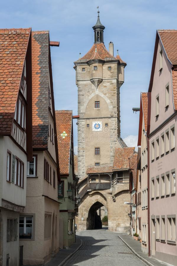 The `Klingen` town gate in the medieval town Rothenburg ob der Tauber, one of the most beautiful villages in Europe, Germany royalty free stock photography