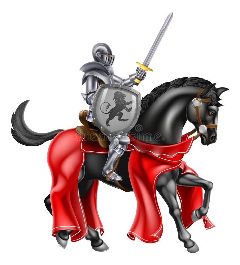 Klingen-und Schild-Ritter auf Pferd lizenzfreie abbildung