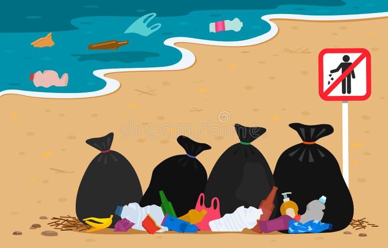 Klingeryt i grat torby na plaży z przerwa znaka gratem zanieczyszczający wybrzeże odchody ludzcy ochrona ?rodowiska naturalnego i ilustracja wektor