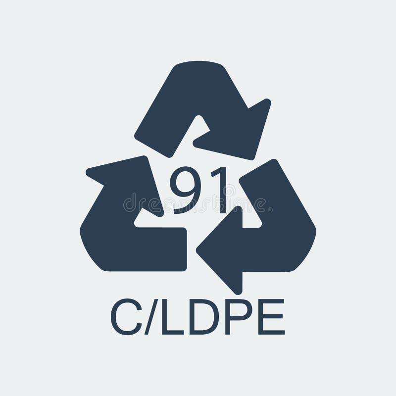 Klingeryt przetwarza symbol CLDPE 91, Zawija klingeryt, etykietka również zwrócić corel ilustracji wektora ilustracja wektor